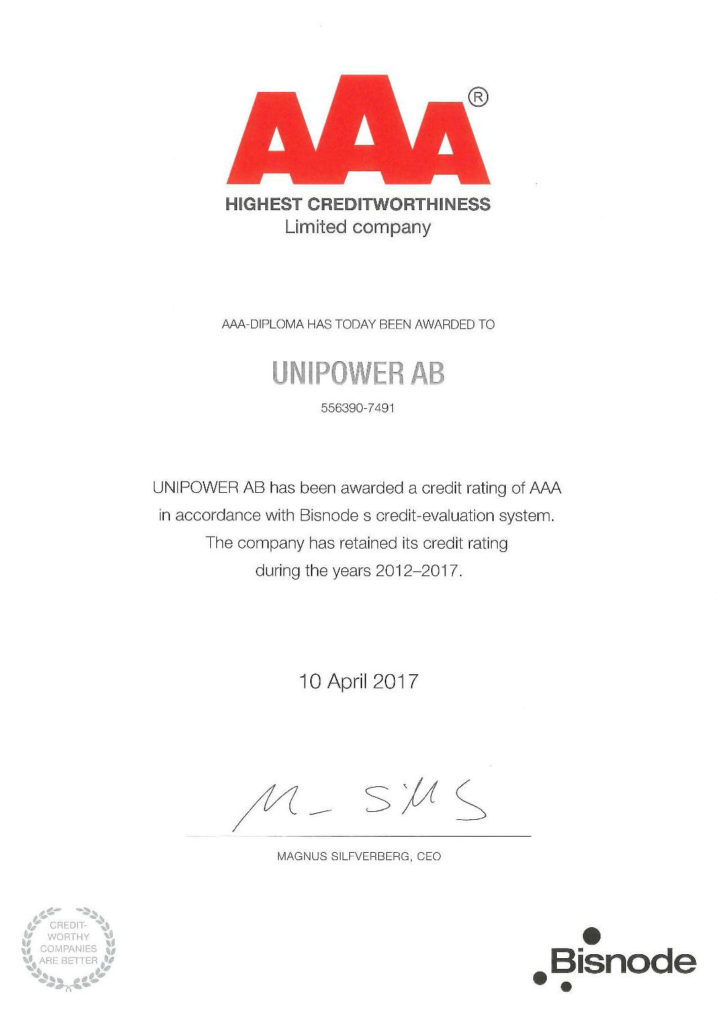 Unipower AB has again received the Triple A (AAA) distinction for highest credit rating by AAA Soliditet AB/Dun & Bradstreet.