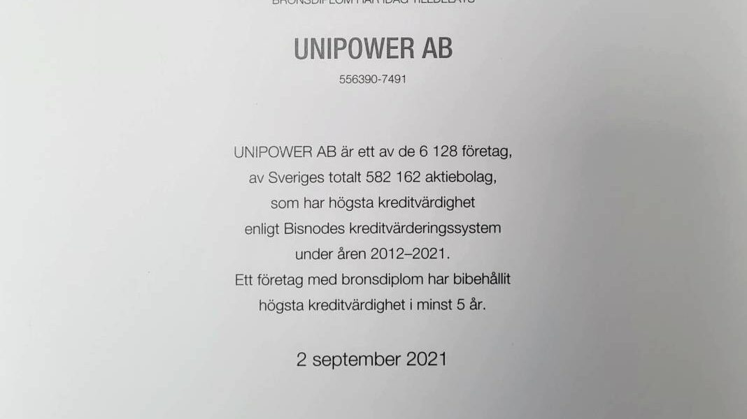 Unipower AB receives AAA rating 2021
